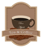 A tea and coffee label Royalty Free Stock Photos