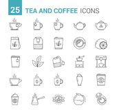 Tea and Coffee Line Icons Stock Photos