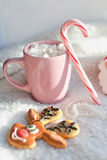 Tea and coffee with marshmallows and Lollipop Royalty Free Stock Images