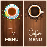 Tea and coffee menu. Wooden background. Vector illustration. Tea and coffee menu. Wooden background. Vector illustration Stock Photo