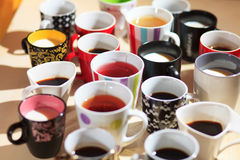 Tea, coffee and milk in cups from above Stock Photos