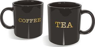Tea and coffee mugs. An illustration of black coffee and tea mugs Stock Photo