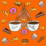 Tea and coffee. A pair of two cups of coffee and tea in the background pattern of sweet pastries Stock Photo