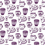 Tea and coffee pattern. Doodle cups seamless Royalty Free Stock Photography