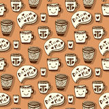 Tea and coffee pattern. Doodle smiley cups on Stock Image