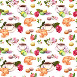 Tea, coffee pattern - flowers, croissant, teacup, macaroon cakes. Watercolor. Seamless. Coffee pattern with flowers cherry, rose flower, tea cups, french stock photos