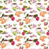Tea, coffee pattern - flowers, croissant, teacup, macaroon cakes. Watercolor. Seamless Stock Photos