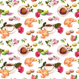 Tea, coffee pattern - flowers, croissant, teacup, macaroon cakes. Watercolor. Seamless. Coffee or tea pattern with flowers, tea cups, croissants and macaroon royalty free stock photography