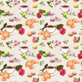 Tea, coffee pattern - flowers, croissant, teacup, macaroon cakes. Watercolor. Seamless Royalty Free Stock Photos