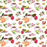 Tea, coffee pattern - flowers, croissant, teacup, macaroon cakes. Watercolor. Seamless Royalty Free Stock Image