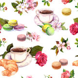 Tea, coffee pattern - flowers, croissant, teacup, macaroon cakes. Watercolor. Seamless Royalty Free Stock Photo