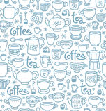 Tea and coffee pattern vector illustration