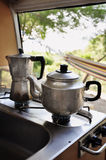 Tea and coffee pot on campside Stock Photo