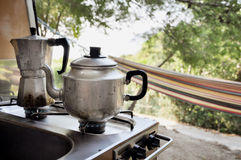 Tea and coffee pot on campside Royalty Free Stock Photos