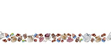 Tea and coffee set with cups, coffee beans and sweets stock illustration