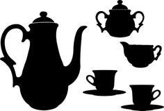 Tea or coffee set silhouettes Royalty Free Stock Photos