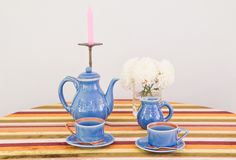 Tea or coffee set on table Royalty Free Stock Photo