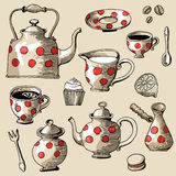 Tea and coffee set Royalty Free Stock Images