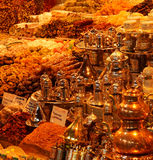 Tea and coffee sets, spices and Turkish desserts Stock Photos