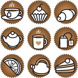 Tea and coffee stuf. Tea stuff icons set. Vector Stock Photography