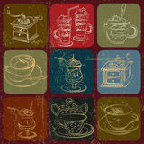 Tea and coffee stuff banner set with Grunge Effect Stock Images