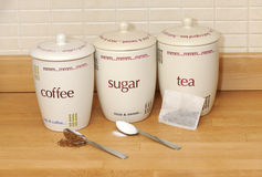 Tea, coffee, sugar Royalty Free Stock Photos
