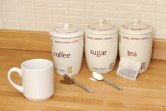 Tea, coffee, sugar Stock Image