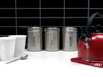 Tea Coffee and Sugar Cannisters Royalty Free Stock Photos