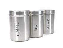 Tea Coffee and Sugar Cannisters Stock Photo
