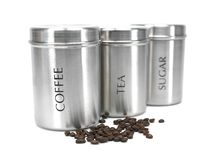 Tea Coffee and Sugar Cannisters Stock Images