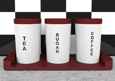 Tea, coffee and sugar cannisters Royalty Free Stock Photos