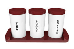 Tea, coffee and sugar cannisters Stock Photo