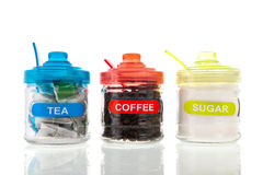 Tea, coffee and sugar Stock Image