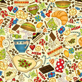 Tea, coffee and sweets seamless pattern. Royalty Free Stock Photography