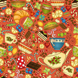Tea, coffee and sweets seamless pattern. Royalty Free Stock Photo