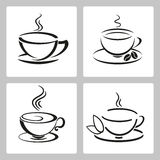 Vector set of cups icon for tea and coffee  Royalty Free Stock Image