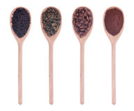 Tea and coffee in the wooden spoons Royalty Free Stock Images