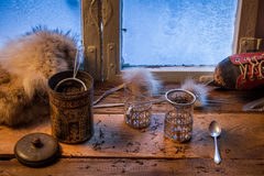 Tea on a cold day in winter Stock Photo