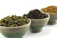 Tea collection. Close-up of tea in bowls Stock Images