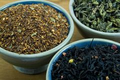 Tea collection. In bowls close-up Stock Images