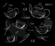 Tea collection. Hand draw  illustration. Tea time. tea cup, teapot Stock Images