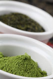Tea collection - matcha green tea powder Royalty Free Stock Photos