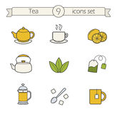 Tea color icons set Stock Photo