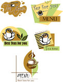 Tea, color logo, design. Design for menus, set of tea lable Royalty Free Stock Images