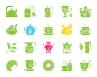 Tea color silhouette icons vector set royalty free illustration