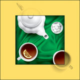 Tea composition. Vector hand picture. A very detailed drawing. In the original vector file, all objects can be used separately from each other Stock Photos