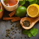 Tea composition set Stock Photos
