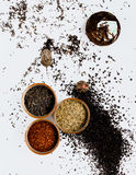 Tea composition in the studio. Gunpowder royalty free stock photo