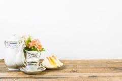 Tea composition, tea set, picture style vintage Royalty Free Stock Images