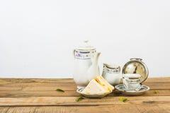 Tea composition, tea set, picture style vintage Stock Images